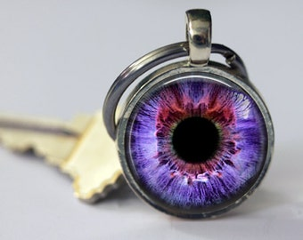 Purple Cat's Eye Pendant, Necklace or Key Chain - Choice of 4 Setting Colors