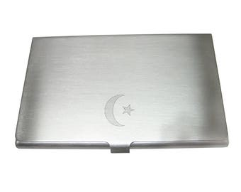 Silver Toned Etched Sleek Islam Flag Business Card Holder