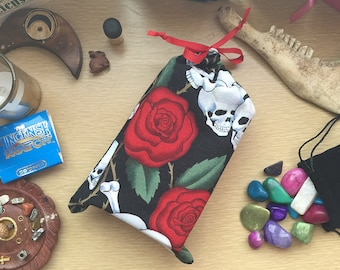 Tarot Bag! Skull and Rose Fabric, Red Ribbon Tie