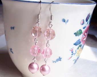 Pink Swarovski Crystal Earrings - Pearl Ombre Jewellery Jewelry - Bridal Bridesmaid