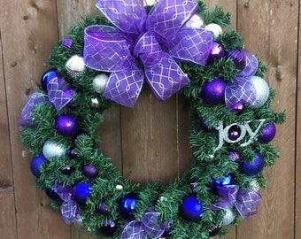 Plum Purple Christmas Wreath Artificial 24 inch Indoor Outdoor Wreath