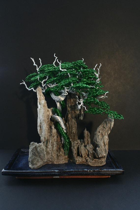 Draht-Bonsai-Baum-Landschaft-Skulptur