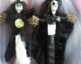 Voodoo Dolls Baron Samedi Maman Brigitte, authentic and handmade married death Loa Atlar dolls, crossroads life and death, New Orleans style