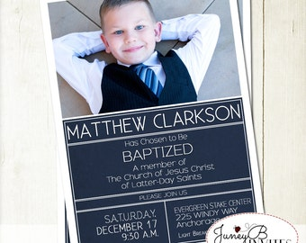 LDS Boy Baptism Invitation, LDS Baptism Invite, Full Picture Invite