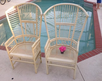 BAMBOO HIGH BACK Chairs / Pair of Brighton Style Bamboo Fan Arm Chairs / High Back Chairs Pavillion Style at Retro Daisy Girl