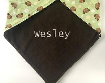 Monkey baby blanket, baby name blanket, gender neutral, receiving blanket, personalized blanket, custom baby blanket, baby shower gift