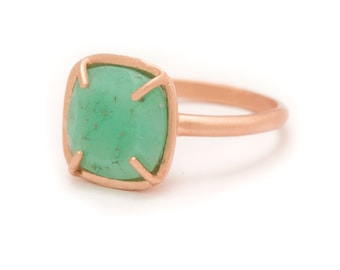 Chrysoprase in Rose Gold Gemstone Ring - Gold Ring - Square Cushion Cut  - Gemstone Ring - Sizes  5, 6, 7, 8, 9, 10