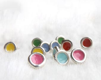 Unusual earrings- Ethically made everyday earrings- Dainty earrings- Small studs- Stud earrings- Yellow- Red- Pink- Green- Sky blue- Blue