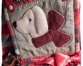 Faithful Friend - A Doggie Wool Applique Pattern Download by Diane Knott LLC - suitable for needle-turn and fusible cotton as well as wool