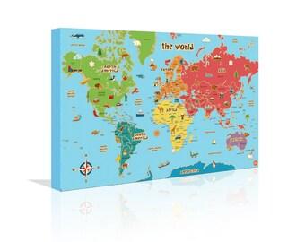 childrens world map canvas 20 x 12 24 x 16 wall art fun gift essentials kids children