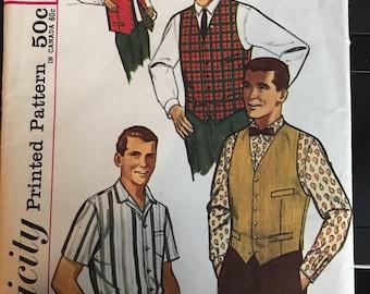 Vintage 50s Simplicity 4160 Men's Shirt/Vest-Size 42 (Neck 16)