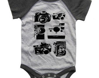 Cameras BABY Bodysuit Raglan one piece shirt creeper Baseball jersey screenprint
