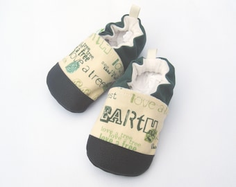 Classic Vegan Go Green Earth Day / Non-slip Soft Sole Baby Shoes / Made to Order / Babies Toddler Preschool
