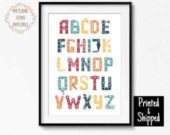 Robot Themed Alphabet Print, Nursery Wall Art Decor Boys Girls Kids Childrens Toddlers Bedroom Playroom Play Room Square 8x10 A4 11x14 A3