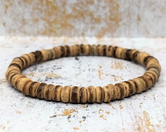 Coconut Wood Bracelet, Beaded Bracelet, Wood Bead Bracelet, Mens Bracelet, Womens Bracelet, Stacking Bracelets, Wooden Bead Bracelet, Beachy
