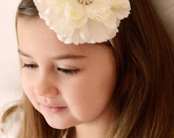 Ivory Dahlia Flower Elastic Headband - Little Girls Hair Bow- Newborn Baby Photo Prop - Easter Spring Summer - Pure Baptism Wedding Piece