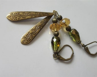 Brass & Glass Earrings, Olive Green and Topaz Czech Glass, Long Boho Dangles, Etched Brass Teardrops