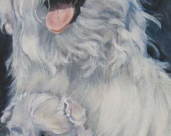 Maltese dog art CANVAS print of LA Shepard painting 5x10 dog portrait