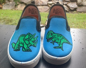 Dinosaur Featured Hand-Painted Shoes