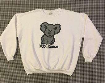 1980's, Kool Koala, sweatshirt, in white, with grey and black, Men's size Large, Women's size XL