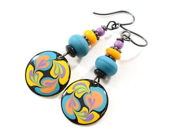 Handmade Earrings, Paint and Resin Earrings, Blue and Yellow Earrings, Swirl Round Earrings, Silver Earrings,Artisan Earring, AE095