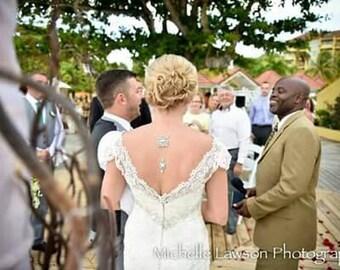 Bridal backdrop necklace, Bridal jewelry, Crystal Back drop necklace, Wedding necklace, Statement backdrop necklace, Vintage style Swarovski
