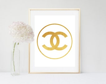 Gold Chanel Logo, Coco Chanel Art,  Gold Print, Printable Art, Coco Chanel Logo, Digital Download, Gold Wall Art, Bedroom Decor