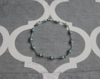 Blue glass bead choker