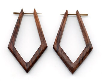 Pointed Tribal Hoops Sono Wooden Post Earrings - Organic & Hand Made