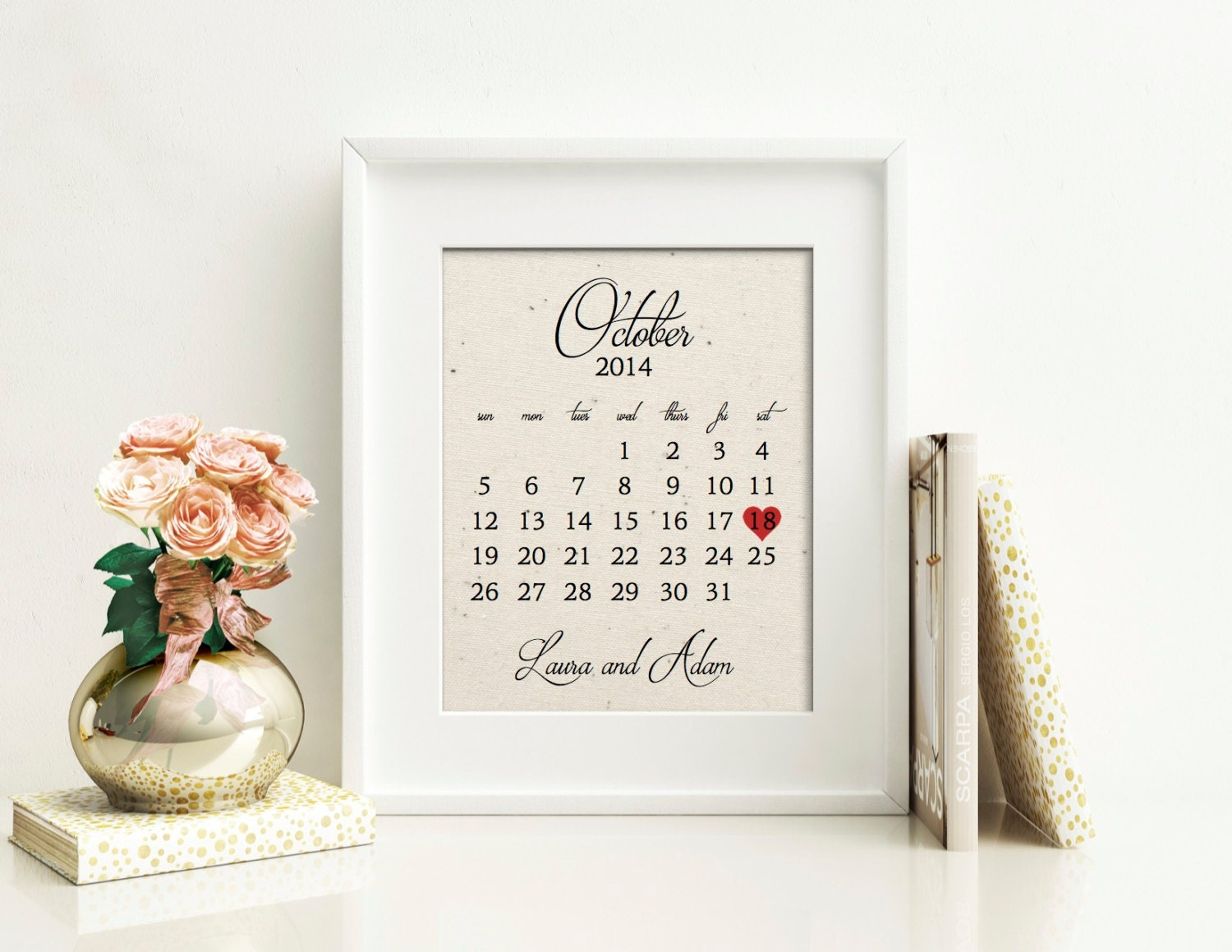 Wedding calendar cotton wedding anniversary gift year