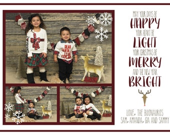 Personalized 5x7 Holiday Card - Rustic Reindeer
