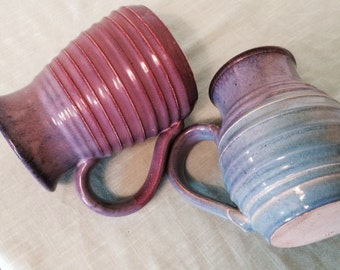2 Couples Hand Spun Clay Pottery Pitchers Or Mugs beautiful Elegant Couples Dinning. Royal Purples And Blues Colored Pottery Clay Mugs