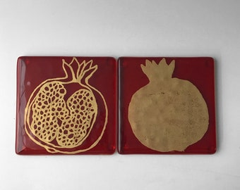 Pomegranate Fused Glass Coaster 2-pack, Fruit Coaster, Set of 2, Drink coaster