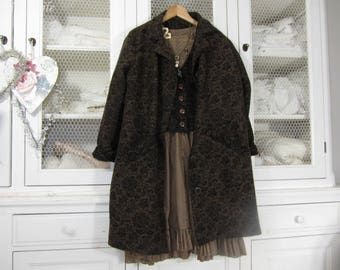 Brown coat with black patterns, romantic and shabby and boho magnolia + matching vest
