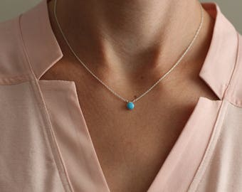 Turquoise Necklace, Dainty Silver Necklace, Tiny Necklace, Blue Turquoise, Circle, Round, Bezel Set, Sterling Silver, Small Dot, Circle