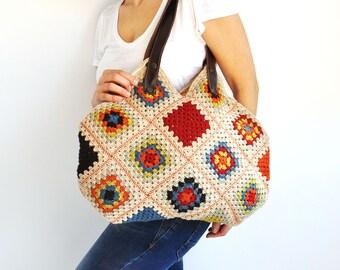 Granny Sguare Afghan Colorful Croched Handbag With Leader Handles - Beige Blue Orange Brown Red Citrine Green by AFRA