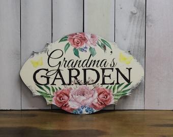Grandma's GARDEN  Decorative Sign w/stake/Garden Sign/Mother's Day/Porch Sign/Rose/Wood Sign/ Garden/ Flowers/ Gardener/Outside