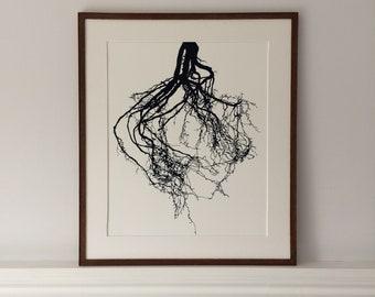 Roots linocut, hand printed linocut, roots print, artwork, wall art, botanical