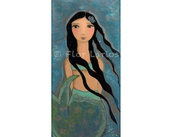 Just a Blue Mermaid Print  from  Painting by FLOR LARIOS ( 5 x 10 INCHES)