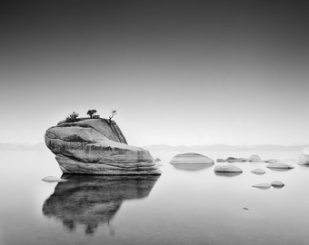 Bonsai Rock Reflection Lake Tahoe, California, Black and White Matted Photograph in a Wood Frame