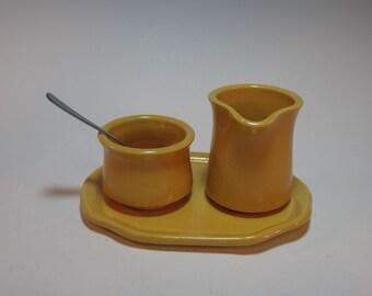 Creamer and Sugar Splenda Breakfast Tray Set with Tray and Spoon - Small - Yellow - Gift Set - Handmade pottery