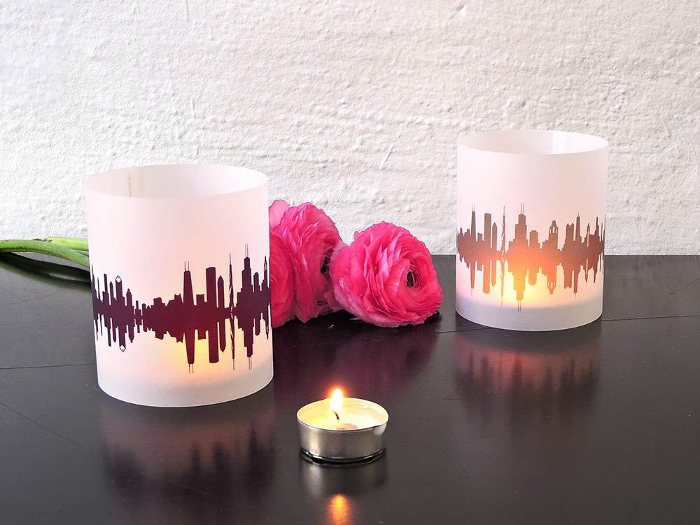 2 Light Covers CHICAGO Skyline Print Tea Light Table Lantern, Chicago luminaries centerpiece,  gift souvenir Chicago romantic candlelight