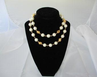 Vintage napier Goldtone and faux pearl necklace