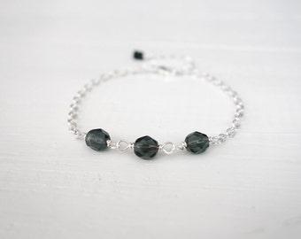 Black diamond bracelet minimalist chain bracelet sparkly glass beads small bracelet for women