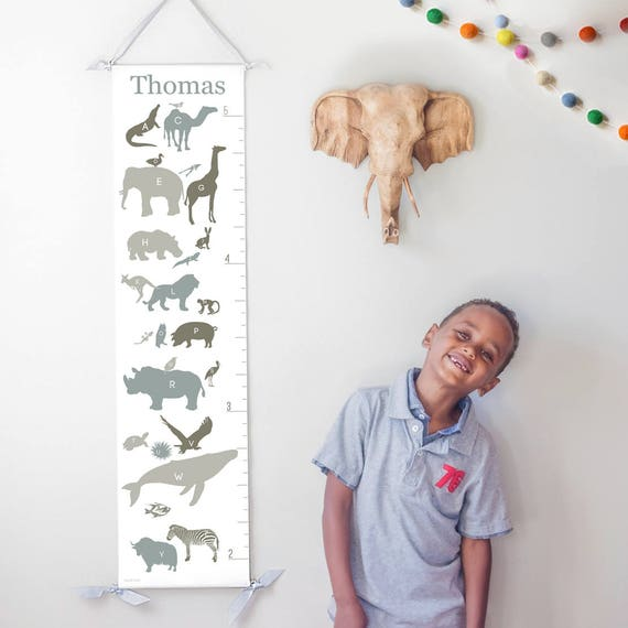 Alphabet Animals canvas growth chart in neutrals