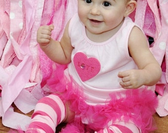 """Hot Pink Candy Bunny Legs Girls Ruffled Tutu Leg Warmers Perfect for photos - Fits girls size 6m to 6X approx 12"""" long"""