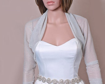 Bridal shrug/SILVER cover up/ bolero/ stretchy tulle lurex/wrap/wedding jacket /wedding wedding accessories