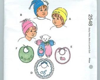 Kwik Sew Pattern 2548 Baby Hats Bibs Lamb Doll NEW Hat Sizes XS-L