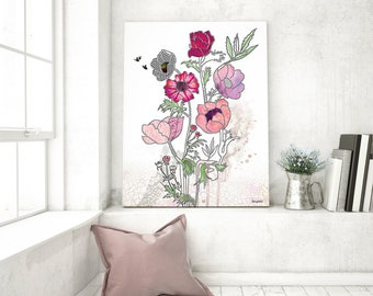 Pink Flowers Art, Pink Art Print, Watercolor Flower Painting, Flowers Artwork, Living Room Art Print, Flower Bouquet Art, Floral Wall Art