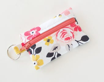 Business Card Holder, Small Zipper Pouch, Flash Drive Holder Vintage Daydream, Vintage Flowers